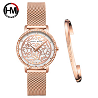 New 1 Set Bracelet Japanese Movement Quartz Ladies Women Stainless Steel Mesh Casual Waterproof Wrist Watch Gift For Female