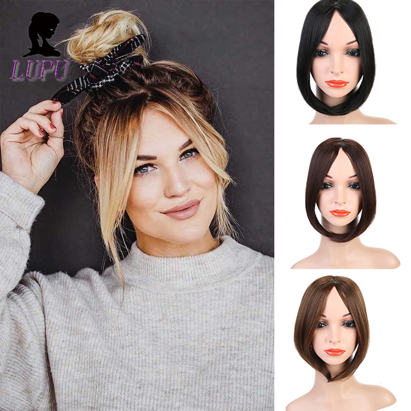 LUPU Synthetic Bangs Natural Fake Hair Extensions Long Clip In Front Hair Bang Side Fringe Hairpieces Heat Resistant For Women