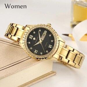 Image 3 - WWOOR 새로운 골드 여성 팔찌 시계 방수 숙녀 시계 스테인레스 스틸 캐주얼 드레스 여성 쿼츠 시계 여성 Reloj Mujer