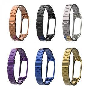 Correias de aço inoxidável para xiaomi mi banda 3 4 banda relógio de metal pulseira inteligente para miband 4 3 cinto substituível pulso ajustável
