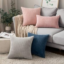Pillow-Covers Fluffy Corduroy Decorative Sofa-Bed Throw Striped for Spring 45x45cm Cozy