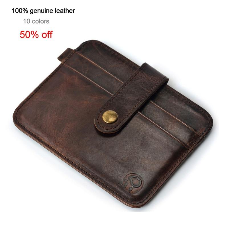 Men Genuine Leather Slim Wallet Durable Male Small Purse Mini Money Bag Slim Pocket Wallet For Casual Men