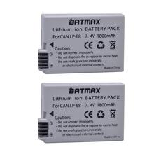 2Pcs 1800mah LP-E8 LP E8 LPE8 Camera Battery for Canon EOS 550D 600D 650D 700D Kiss X4 X5 X6i X7i Rebel T2i T3i T4i T5i Batterie cheap Batmax Standard Battery Rechargeable Li-ion battery 7 4V