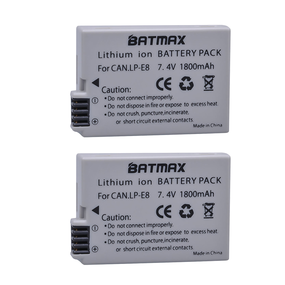 2Pcs 1800mah LP-E8 LP E8 LPE8 Camera <font><b>Battery</b></font> for <font><b>Canon</b></font> EOS <font><b>550D</b></font> 600D 650D 700D Kiss X4 X5 X6i X7i Rebel T2i T3i T4i T5i Batterie image