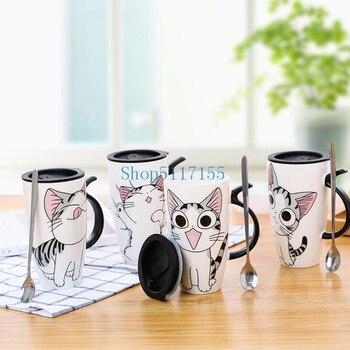 600ml 20oz Leuke Kat Keramiek Koffie Mok Met Deksel Grote Capaciteit Dier Mokken creative Drinkware Koffie Thee Kopjes melk Cup