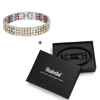 RainSo Stainless Steel Magnetic Charm Bracelets for Women Bio Energy Therapy Love Bracelet Femme Health Jewelry Friendship Gifts 9