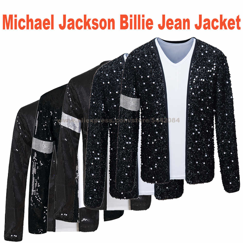 Mj Michael Jackson Jas Billie Jean Jas Zwarte Jas En Handschoen Hallowmas Party Kostuum Cosplay Prop Collecties 1BLJD025