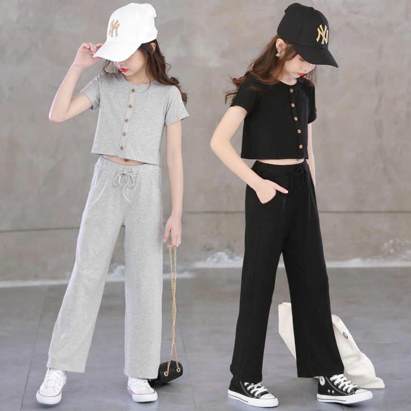 Crianças meninas conjunto de roupas 2020 verão adolescente meninas esporte terno t camisa com capuz wid perna calças escola crianças agasalho para meninas roupas
