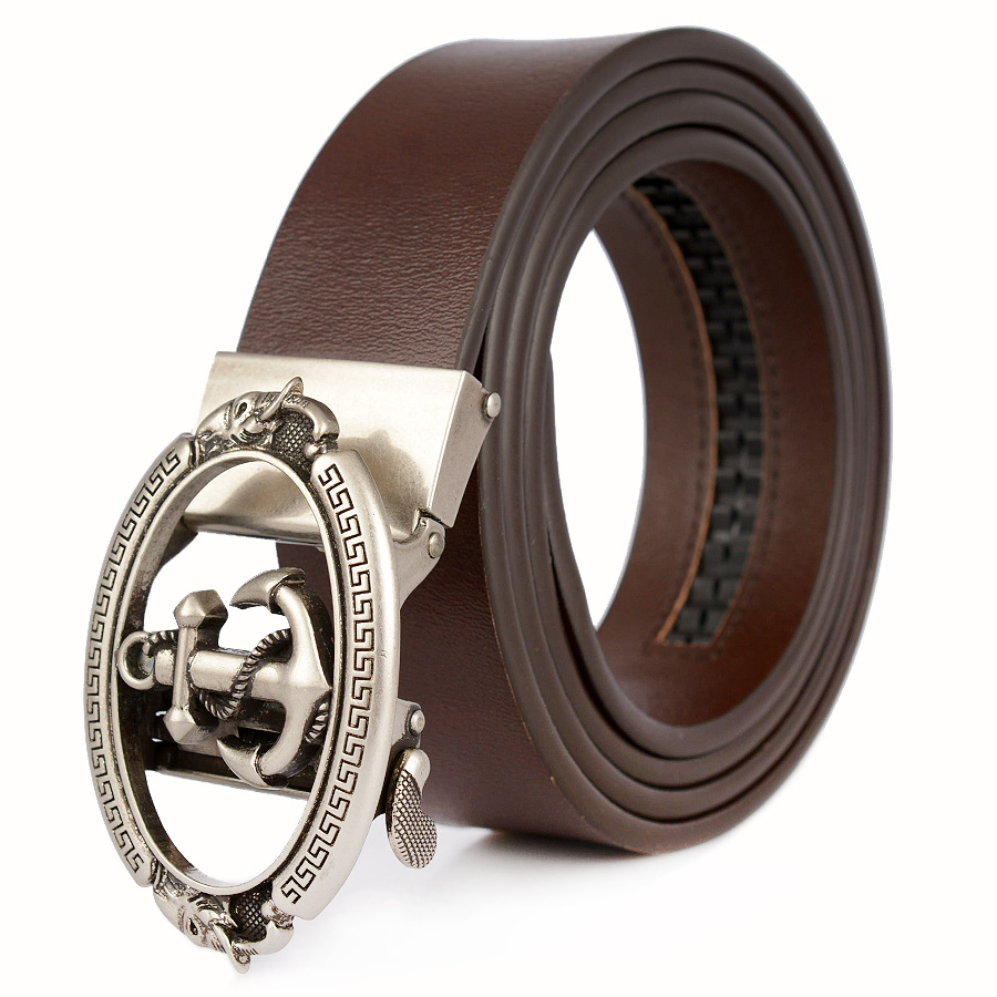 Retro Men Anchor Designer Belts Men's Cowskin Real Genuine Leather Belt Automatic Buckle Waist Straps Belt For Men Luxury