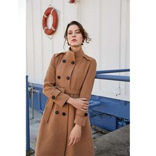 Escalier Womens Wool Trench Coat Winter Double-Breasted Jacket with Belts