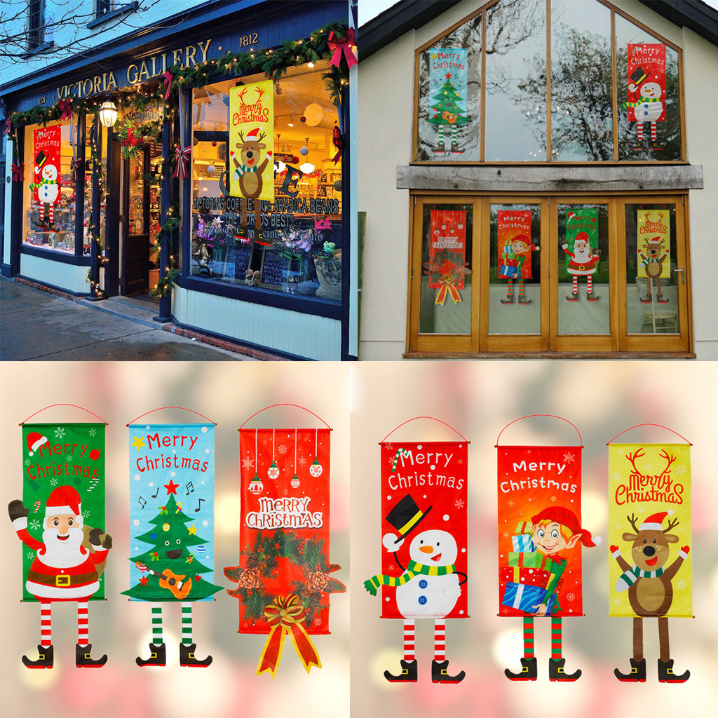 Merry Christmas Ornaments Hanging Decoration Santa Claus Banner Flag Door Window