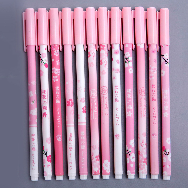 6 pièces 0.38mm rose cerisier fleurs aléatoire Gel stylo Signature stylo noir encre école fournitures de bureau cadeau promotionnel étudiant papeterie