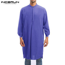 INCERUN 2019 Jubba Thobe Men Robes Muslim Arabic Islamic Kaftan Solid Long Sleeve Saudi Arab Middle East Clothes S-5XL