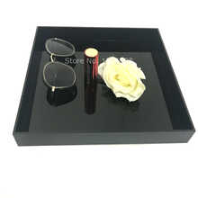 Black Square Acrylic Trinket Stackable Tray Phone Key Wallet Coin Desktop Storage Sundries Box Bins Accessories Home Supply - DISCOUNT ITEM  5% OFF All Category
