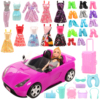 Fashion Handmade 31 Items /lot= 1 Doll 10 Dolls Clothes 10 Doll Shoes 8 Living accessories Colors Trunk Toy Car For Barbie Game