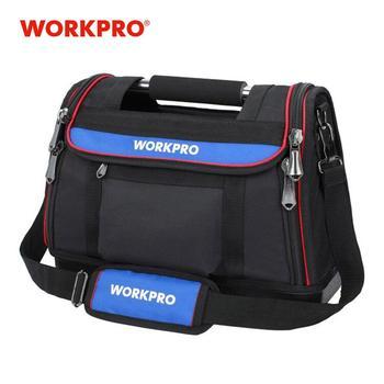 WORKPRO sac à outils pour hommes, sac à outils à couvercle ouvert de 15 , sac de rangement pour outils robuste, sac à bandoulière multifonctionnel pour hommes