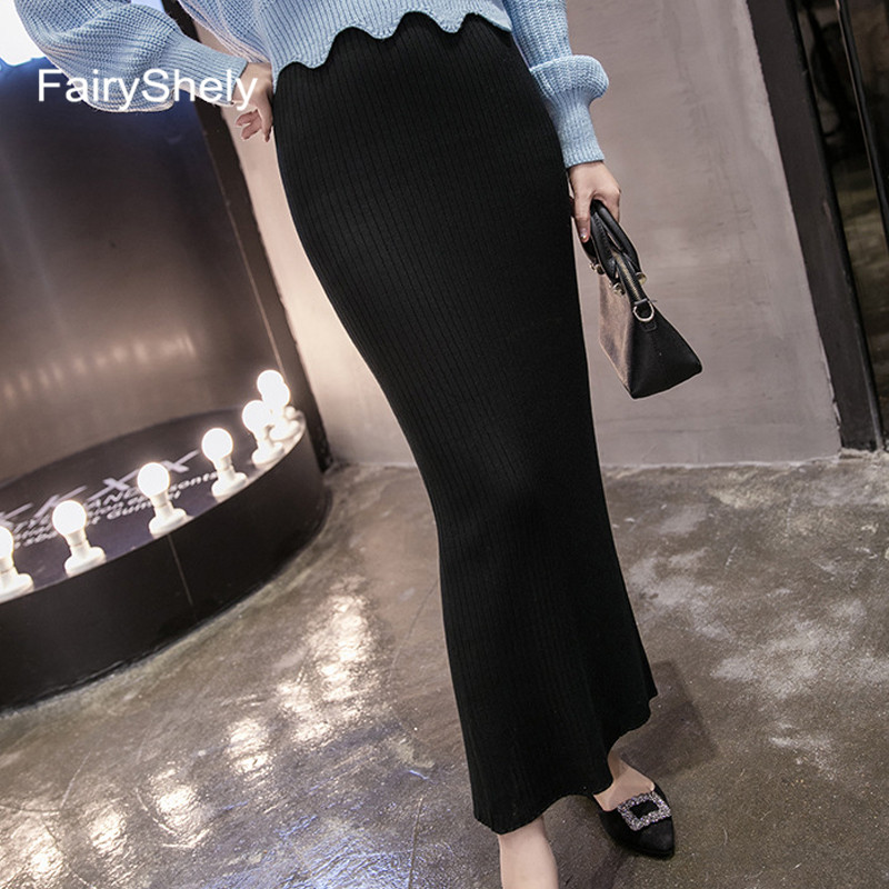 2019 Autumn Winter Black Knitted Long Skirts Women Elastic Band High Waist Warm Skirt Ribbed Split Slim Maxi Pencil Skirt Female