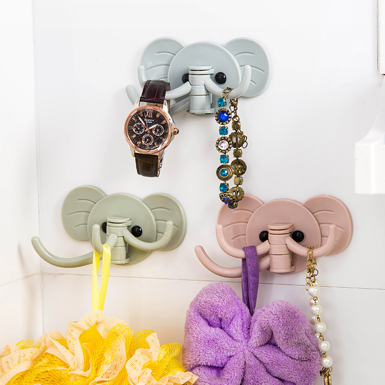 1pc Hooks Elephant Stick On Wall Adhesive Hooks Self Bathroom Kitchen HangerHooks Strong Hanging Hook Key Holder High Quality