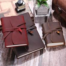 Cuaderno de viaje diario de cuero, escritura hecha a mano con encuadernación Vintage para hombres y mujeres, diario de viaje sin forro para escribir