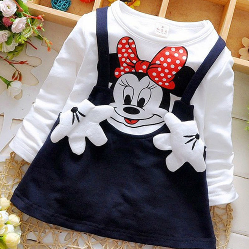 Hot Sale 2019 Summer Cotton Baby Girls Cartoon Long Sleeves Dress Children's Clothing Princess Dresses Casual Clothes 0-2years