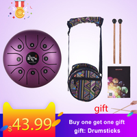 5.5 Inch Mini 8 Tone Steel Tongue Drum C Key Percussion Instrument Hand Pan Drum with Drum Mallets Carry Bag