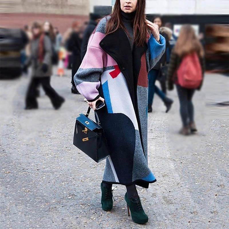Женское осенне зимнее шерстяное пальто, длинный рукав, отложной воротник, полиэфирная верхняя одежда, куртка, элегантное Свободное пальто, Femenino|Пальто|   | АлиЭкспресс