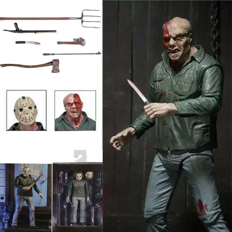7inch NECA 3D Friday The 13th Part 3 Jason PVC Action Figure Toy Horror Halloween Gift