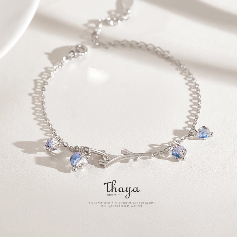 Thaya crepúsculo floresta pulseira symphony cristal s925 prata moda charme pulseiras para feminino design original jóias presente
