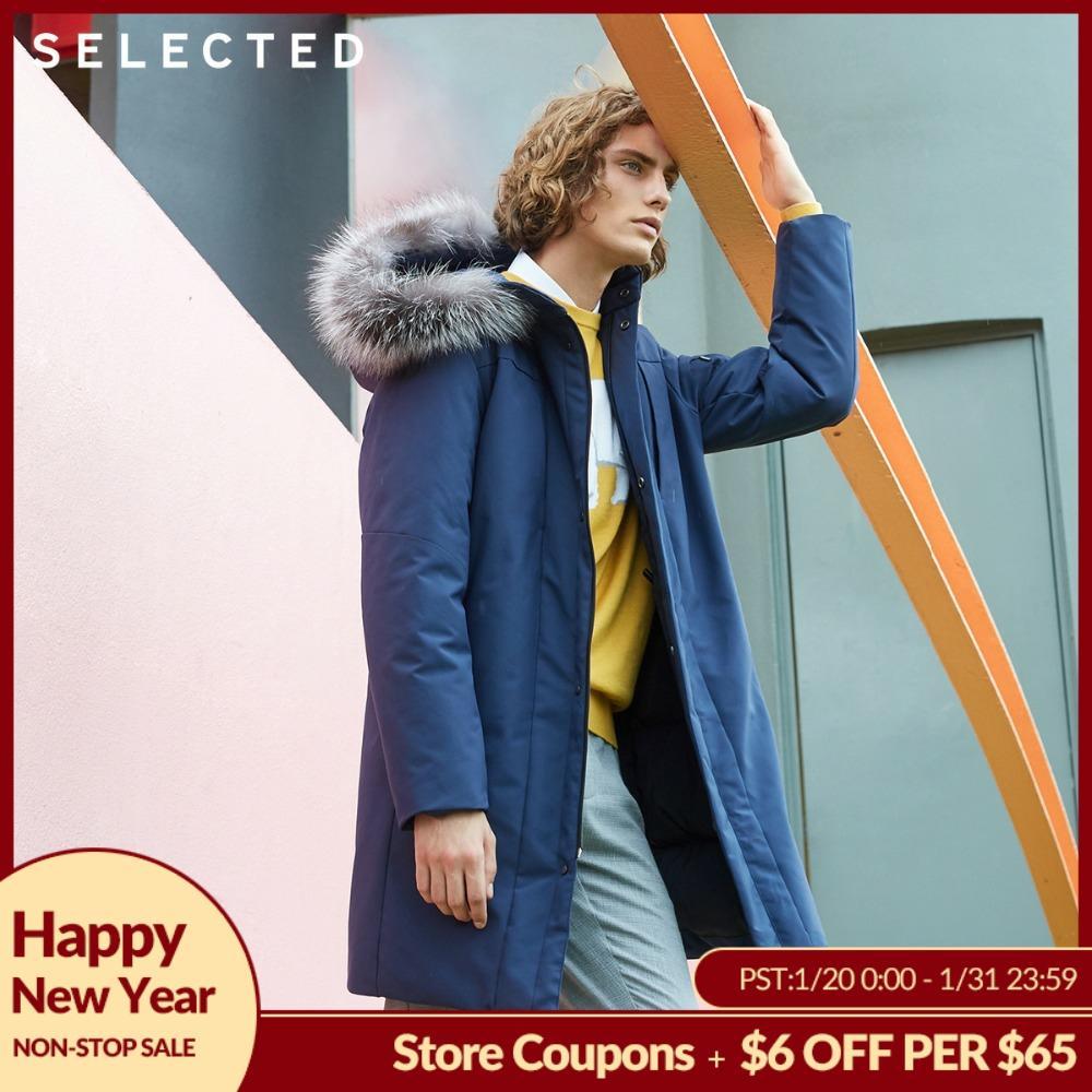 SELECTED Men's Winter Fox Fur Collar Parka Down Jacket Medium-long Style Coat Warm Clothes S   418412569
