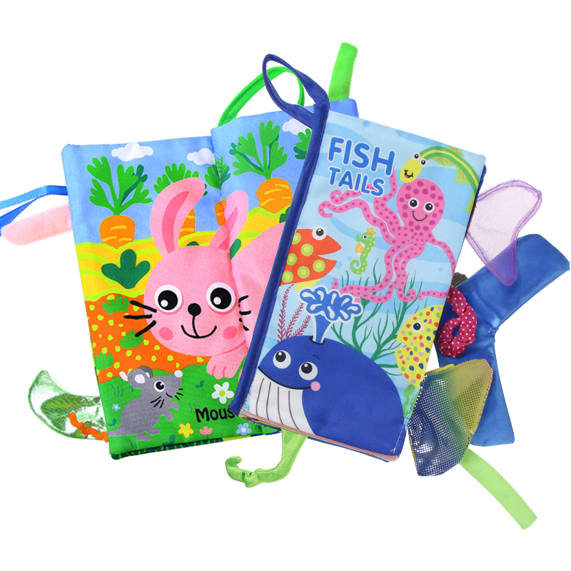 Animals Tail Stereo Soft Cloth Books Infant Fish Tails Baby Books Rattle Early Learning Educational Toys Baby Toys 0-12 Months