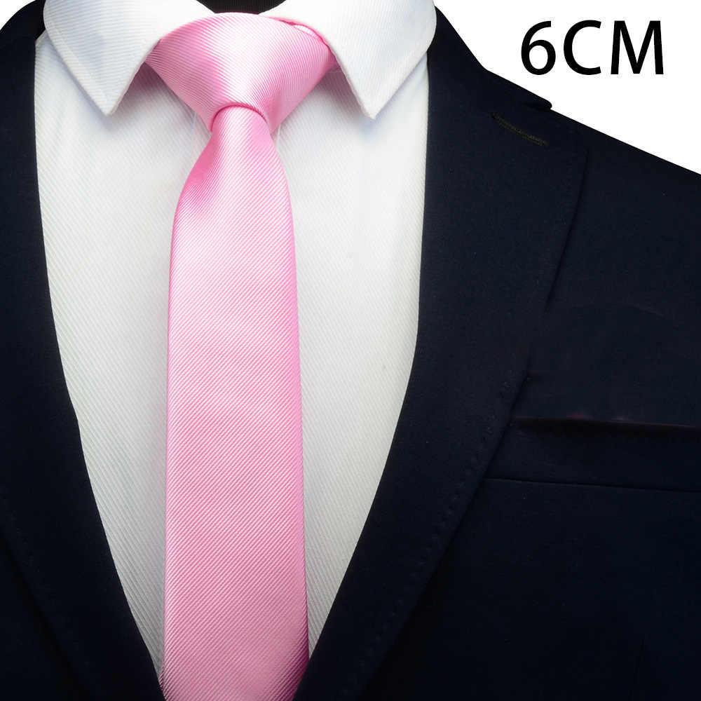 Ricnais סקיני עניבה פוליאסטר עניבות עבור גברים חתונת חליפת Slim קלאסי מוצק צבע צוואר עניבה מזדמן טהור 6cm אדום עניבת
