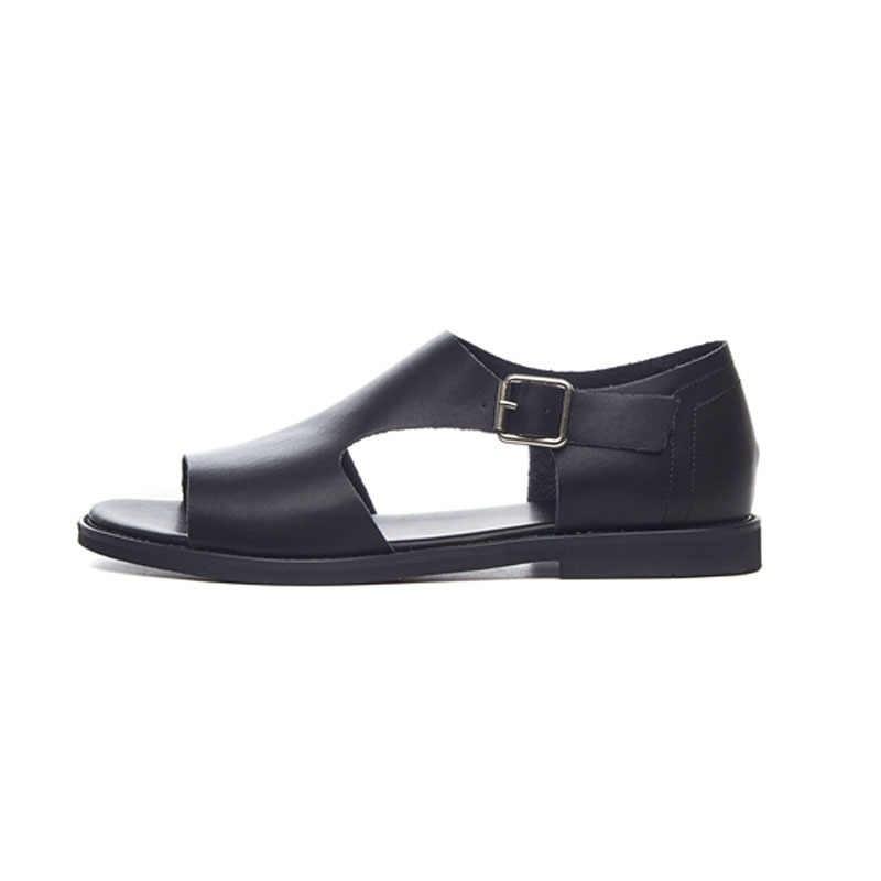 Retro oco para fora dos dedos abertos dos homens sandálias de praia verão moda couro genuíno gladiador sapatos alta superior chinelos casuais streetwear