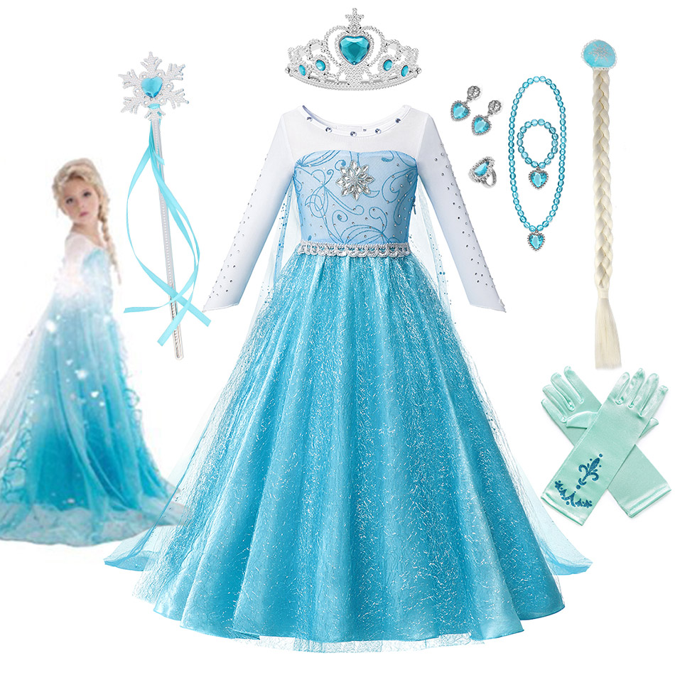 3 4 6 8 10 Years Old Girls Fancy Queen Elsa Costume Bling Synthetic Crystal Bodice Princess Elsa Party Dress Snow Queen Cosplay