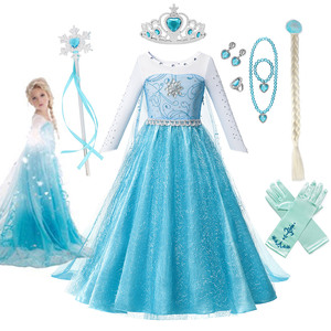 3 4 6 8 10 Years Old Girls Fancy Queen Elza Costume Bling Synthetic Crystal Bodice Princess Elza Party Dress Snow Queen Cosplay(China)