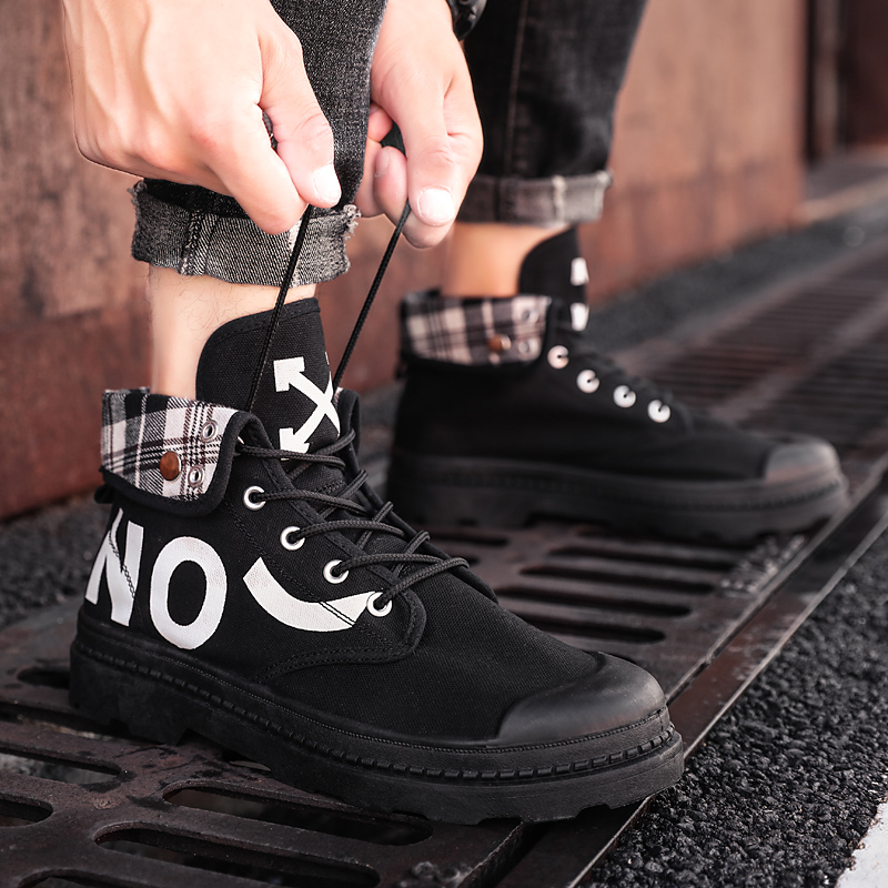 Men Canvas Grid Cloth Boots Casual High Top Shoes Fashion Letter Platform Boots Working Ankle Fold Botas Size 39 44|Hiking Shoes| |  - title=