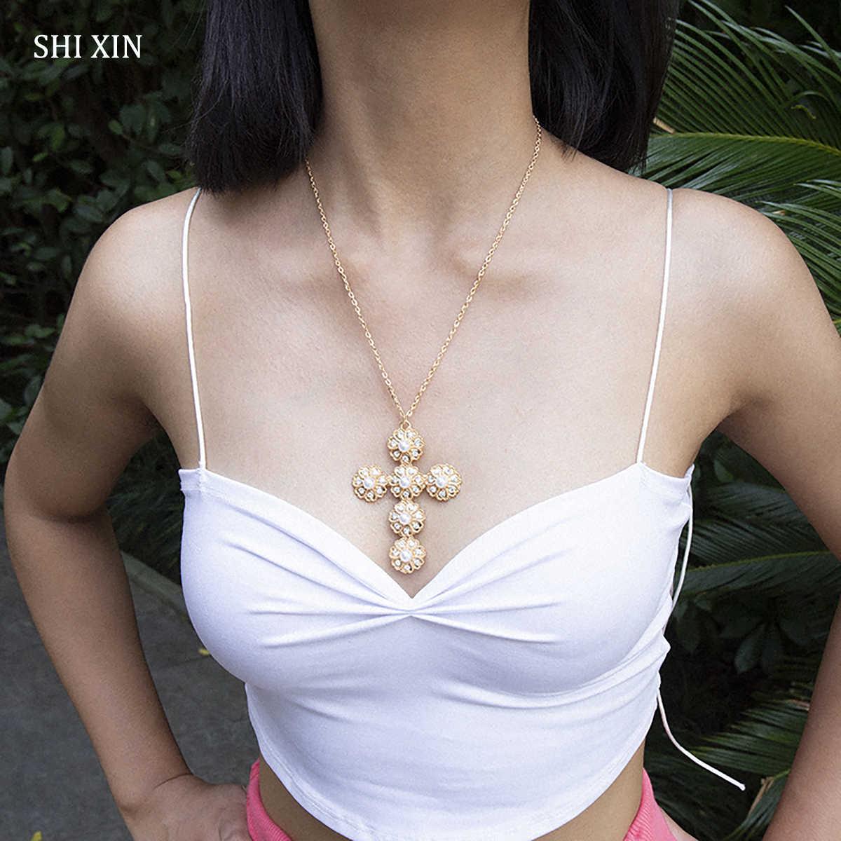 SHIXIN moda koreański wielki krzyż Pendnat naszyjnik Punk złoty/długi łańcuszek srebrny wyróżniający się naszyjnik perła krzyż naszyjnik kobiet prezent