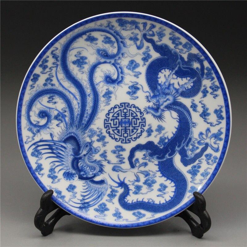 Assiette en porcelaine bleue et blanche chinoise peinte Dragon et Phoenix W Qianlong Mark
