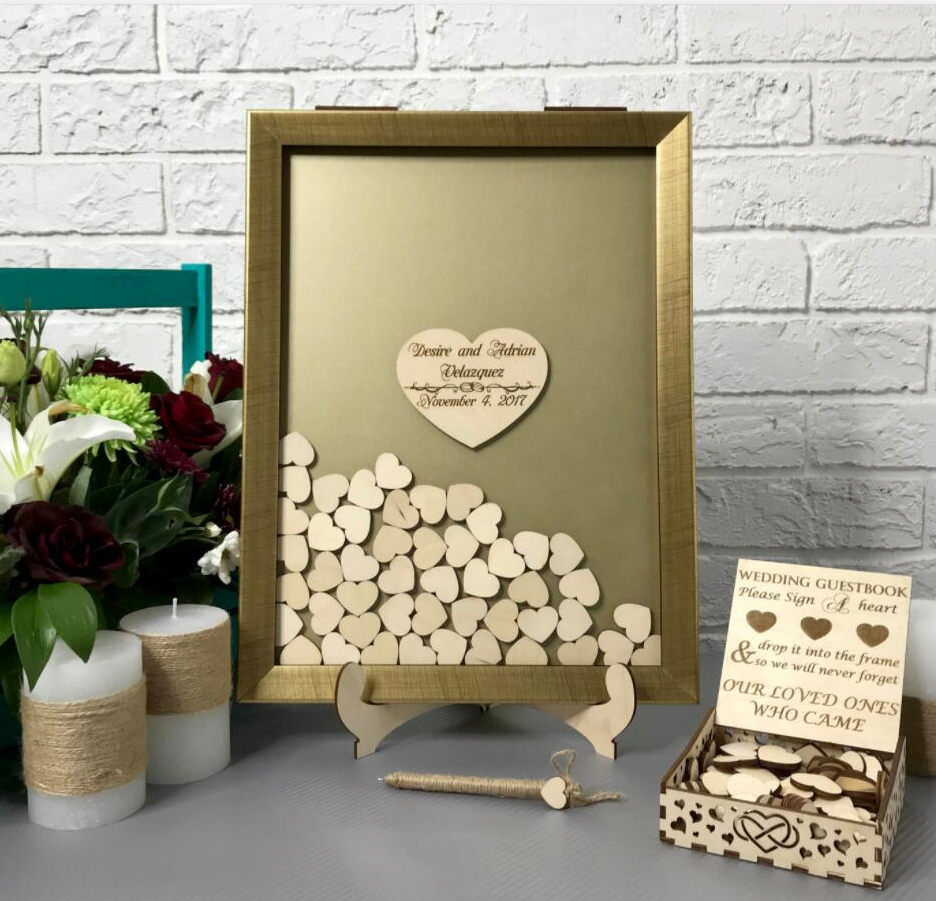 Personalise Names Gold Frame Wooden Wedding Engraved Guestbooks Alternative Wishes Drop Top Box Signature Guest Book Decorations