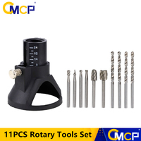 11PCS Rotary Tools Set HSS Wood Milling Burrs Carving Rotary Locator Set 3.0mm Twist Drill Bit Abrasive Tool For Dremel