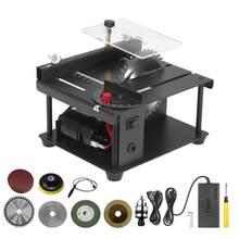Serra de mesa elétrica multifuncional ajustável-velocidade mini desktop cortador de serra circular para corte acrílico plástico de madeira