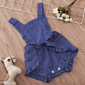 Новинка; Летние Повседневные детские комбинезоны; Модные кружевные джинсовые брюки с бантом для маленьких девочек; Детские боди