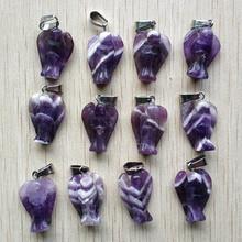 Venta al por mayor 12 unids/lote de moda de alta calidad natural tallado Ángel de piedra encantos colgante para collar joyería envío gratuito