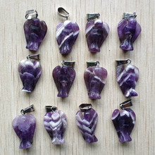 Wholesale 12pcs/lot  Fashion high quality Carved natural stone angel charms Pendants for necklace making jewelry free shipping