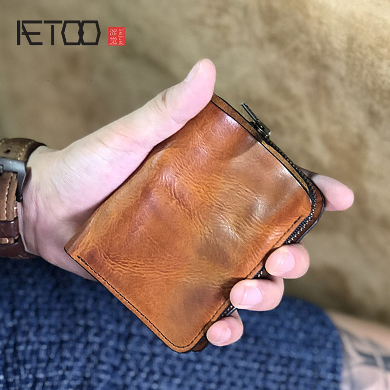 AETOO Handmade Plant Tanning Cowleather Men's Short Wallet, Vintage Leather Vertical Small Wallet, Driver's License Wallet