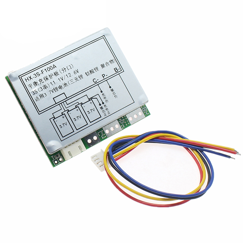 <font><b>BMS</b></font> <font><b>3S</b></font> <font><b>100A</b></font> 18650 Lithium Battery Protection Board With Balance 12.6V <font><b>3S</b></font> <font><b>BMS</b></font> Polymer Separate Balancer Equalizer Circuit Board image