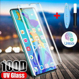 Tempered Glass For Huawei P20 P30 P40 Pro Lite Screen Protector UV Liquid Curved Full Glue For Huawei Mate 20 30 Pro Lite Glass(China)