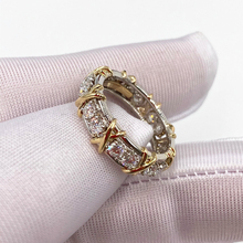 S925 Sterling Silver fashionable X inlaid zircon ring, 1: 1 high-end women's
