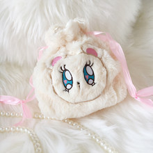 Japanese anime coplay sweet lolita bag cute plush bear drawstring bag kawaii girl loli cos(China)