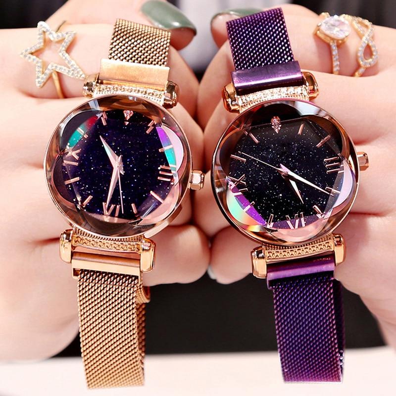 Luxury Rose Gold Women Watches Fashion Diamond Ladies Starry Sky Magnet Watch Waterproof Female Wristwatch For Gift Clock 2019
