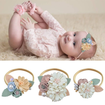 BalleenShiny Infant Baby Headband Fashion Princess Hair Band Kids Girl Flower Hair Accessories Newborn Photography Props Turban